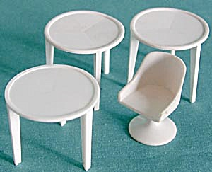 Vintage Plastic Dollhouse White Tables, Chair & Cabinet