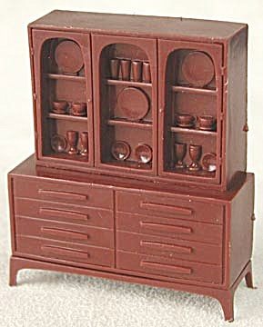 Vintage Plastic Dollhouse China Cabinet