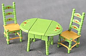 Mattel Littles Metal Drop Leaf Table & 2 Chairs