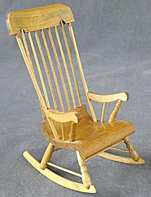 Vintage Dollhouse Wooden Spindle Back Rocking Chair
