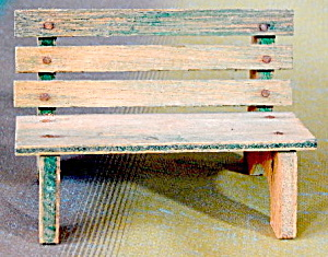 Vintage Green Wooden Doll Bench