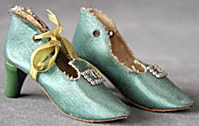 Vintage Boudoir Doll Green Satin Shoes
