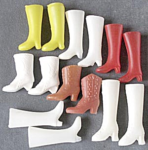 Vintage Doll Boots 7 Pairs