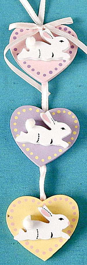Vintage Wooden Bunnies Ornament