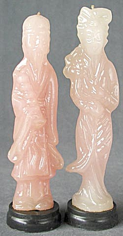 Vintage Oriental Man And Woman Candles Set Of 2
