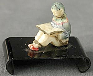Vintage Celluloid China Man Reading On Black Base