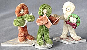 Vintage Celluloid, Wood & Chenille Pipe Cleaner People