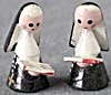 Vintage Wooden Painted Nuns