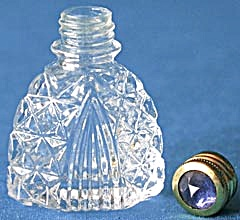 Vintage Crystal Perfume Bottle With Jewel Top