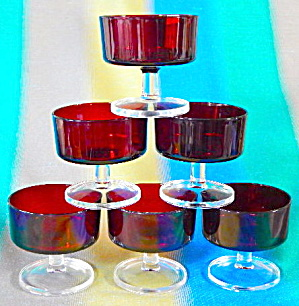 Ruby Red Body Clear Stem Glass Sherbet Dessert Cups