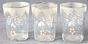 Victorian Hand Painted Enamel Drinking Glass Tumblers