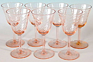 Pink Depression Glass Cordials Set Of 7
