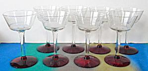 Art Deco Clear Striped & Red Base Stemware Set Of 8