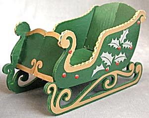 Vintage Wooden Sleigh In Original Box