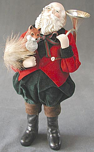 Santa Clause & Fox Porcelain Christmas Decoration