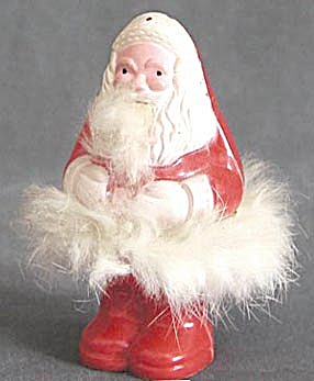 Vintage Plastic Santa Rattle With Fur
