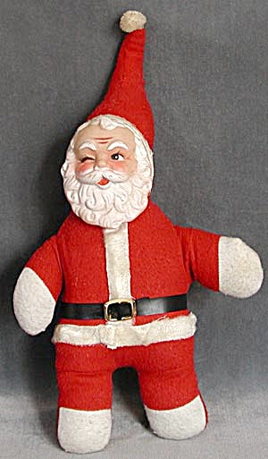 Vintage Santa Stuffed And Winking