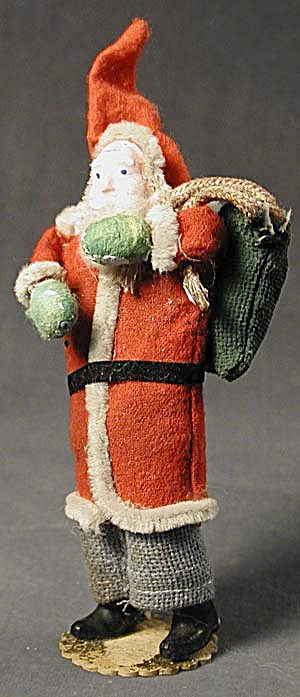 Santa With Green Sack Vintage