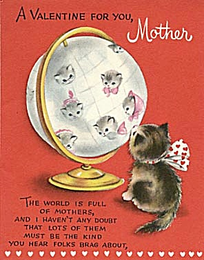 Vintage Valentine Card: Cat Looking At A Kitty Globe