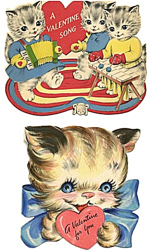 Vintage Valentine Cards: Cats