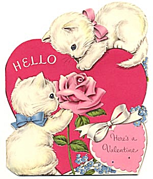 Vintage Valentine Card:cat Playing With Dew Drop