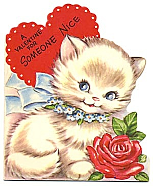 Vintage Valentine Card: Cat With Red Rose
