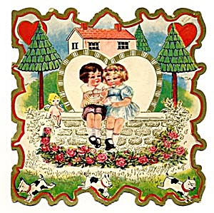 Vintage Valentine Card: Boy, Girl And Puppies