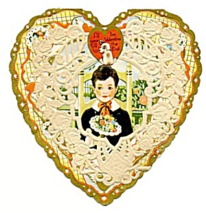 Vintage Valentine Heart Decorated With Lace Doily