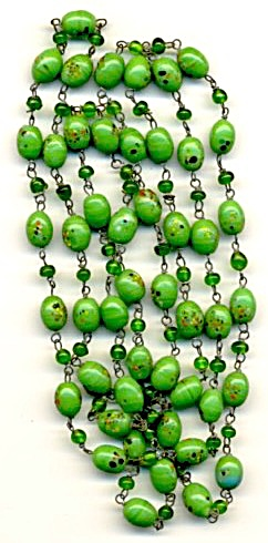 Vintage Czech Green Spatterware Glass Bead Necklace