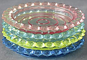 Vintage Jewel Tone Plastic Coasters Set Of 4