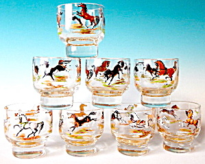 Vintage Horse Drinking Glasses Set Of 8