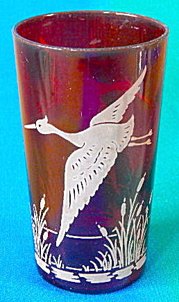 Vintage Red Drinking Glass With Bird & Cattails