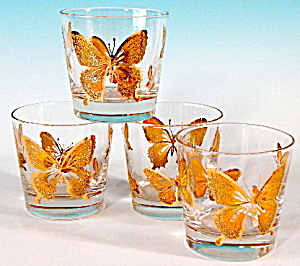 Vintage Gold Butterfly Glasses Set Of 4