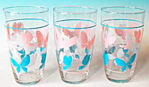 Vintage Large Butterfly Glasses Set Of 3