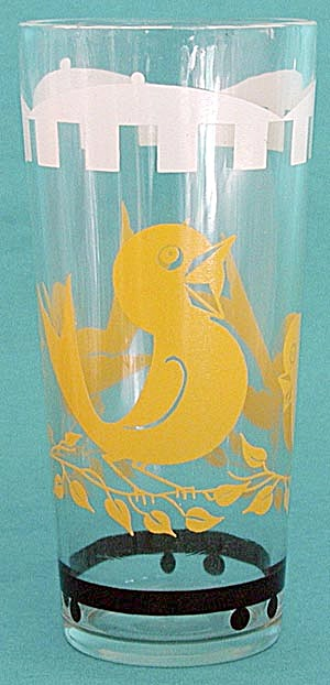 Vintage Circus Canary Drinking Glass
