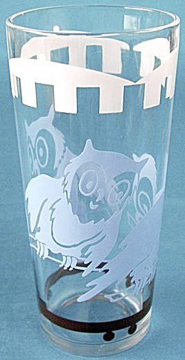 Vintage Circus Elephant & Owl Glass Tumblers
