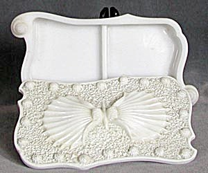 Antique Milk Glass Seashell Pattern Dresser Box