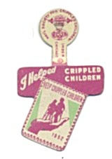 Chicago I Helped Crippled Children Metal Tab Pin