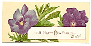 Vintage New Year Calling Card With Pansies