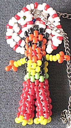Vintage Native American Indian Beaded Doll Necklace