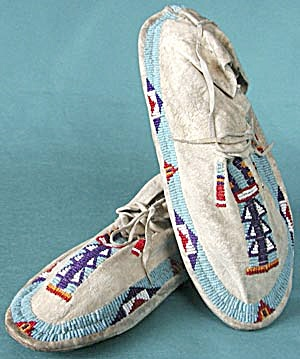 Vintage Leather & Beaded Cheyenne Indian Moccasins