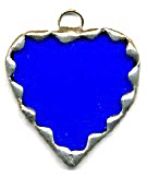 Blue Glass & Pewter Heart Ornament