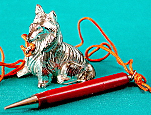 Vintage Metal Collie With Original Mechanical Pencil