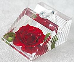 Vintage Lucite Pen Holder With Red Rose