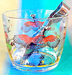 Vintage Glass Ice Bucket Pheasant Hunting Design