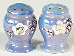 Vintage Blue Flower Luster Salt & Pepper Shakers
