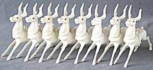 Vintage Art Deco White Plastic Reindeer Set Of 8