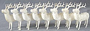 Vintage White Plastic Reindeer Set Of 8