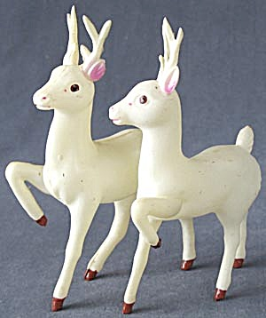 Vintage Celluloid Large White Reindeer Set Of 2