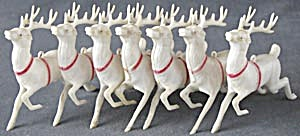Vintage White Plastic Reindeer Set Of 7